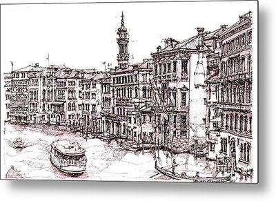 Venice In Pen And Ink Metal Print by Adendorff Design