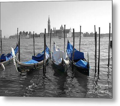 Venice Italy Boats In Black And Blue Metal Print