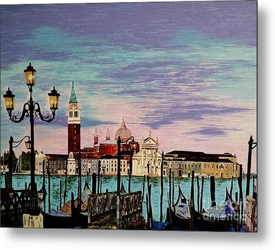 Metal Print featuring the painting Venice  Italy By Jasna Gopic by Jasna Gopic