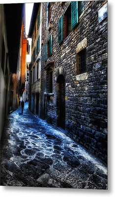Venice Italy Silhouette - Lonely Walk Metal Print