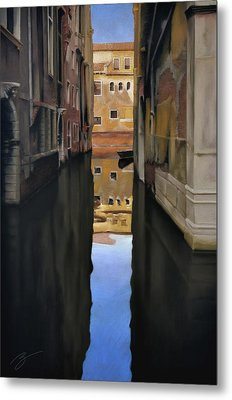 Metal Print featuring the pastel Venice Reflections - Pastel  by Ben Kotyuk