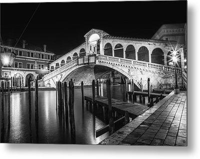 Venice Rialto Bridge At Night Black And White Metal Print