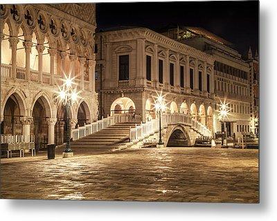 Venice Riva Degli Schiavoni At Night Metal Print