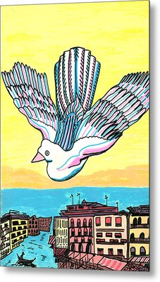 Metal Print featuring the drawing Venice Seagull by Don Koester