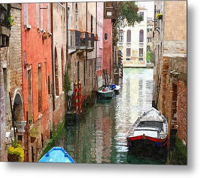 Venice Side Canal Metal Print by Bishopston Fine Art