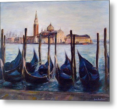 Venice Through The Gondolas Italy Painting Metal Print by Quin Sweetman