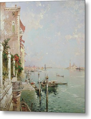 Venice View From The Zattere With San Giorgio Maggiore In The Distance Metal Print by Franz Richard Unterberger