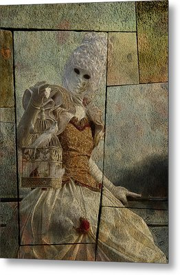 Metal Print featuring the photograph Venitian Carnival-bird In A Cage by Barbara Orenya