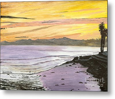 Metal Print featuring the painting Ventura Point At Sunset by Ian Donley