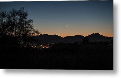 Metal Print featuring the photograph Venus And A Young Moon Over Tucson by Dan McManus