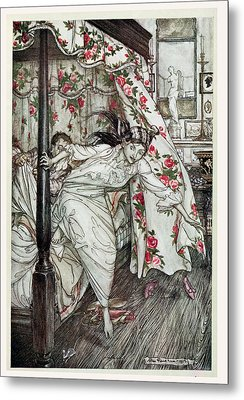 Venus And The Cat, Illustration From Aesops Fables, Published By Heinemann, 1912 Colour Litho Metal Print by Arthur Rackham