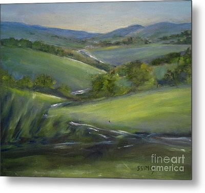 Metal Print featuring the painting Verdant Hills Of New York by Sally Simon