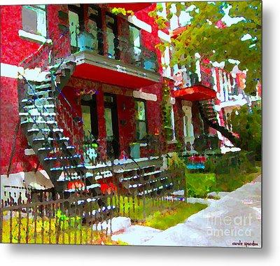 Verdun Spiral Staircases Sprawling Balconies Red Brick Duplex Triplex Montreal Scenes Carole Spandau Metal Print by Carole Spandau