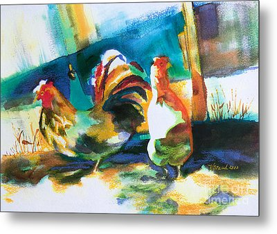 Metal Print featuring the painting Veridian Chicken by Kathy Braud