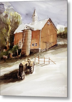 Vermont Barn With Wooden Silo Metal Print
