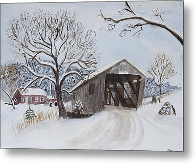 Metal Print featuring the painting Vermont Covered Bridge In Winter by Donna Walsh