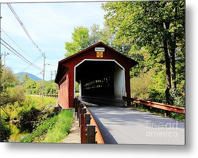 Metal Print featuring the photograph Vermont Covered Bridge by Trina  Ansel