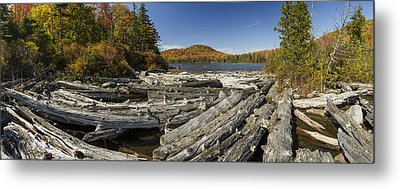 Vermont Kettle Pond Panorama Autumn Forest Metal Print by Andy Gimino