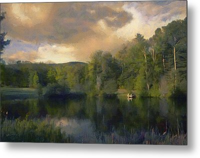 Metal Print featuring the painting Vermont Morning Reflection by Jeff Kolker