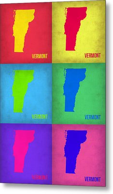 Vermont Pop Art Map 1 Metal Print by Naxart Studio