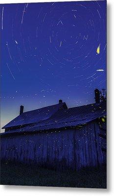 Vermont Twilight Blue Hour Farmhouse Startrails Fireflies Metal Print