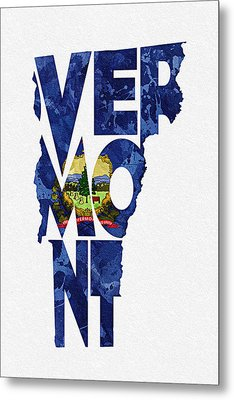Vermont Typographic Map Flag Metal Print by Ayse Deniz