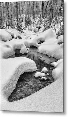 Vermont Winter Landscape Brook Forest Snow Metal Print by Andy Gimino