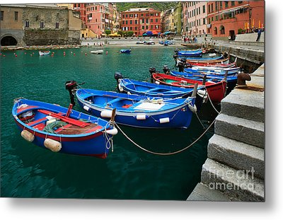Vernazza Boats Metal Print by Inge Johnsson