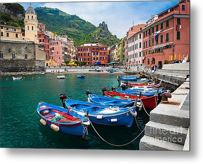 Vernazza Harbor Metal Print by Inge Johnsson