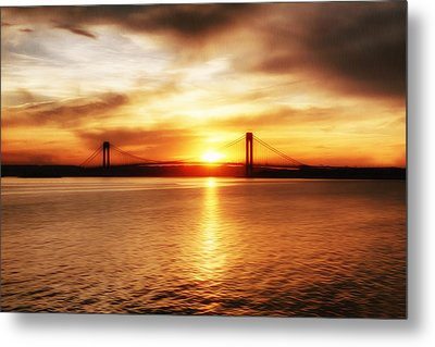 Metal Print featuring the painting Verrazano Bridge At Sunset by Boris Mordukhayev