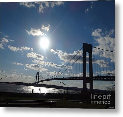 Verrazano Bridge Sunset Metal Print by Lyric Lucas
