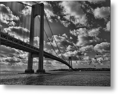 Metal Print featuring the photograph Verrazano Narrows Bridge In Bw by Terry Cork