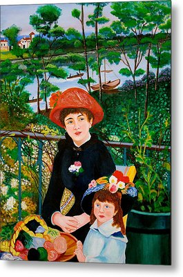 Version Of Renoir's Two Sisters On The Terrace Metal Print by Cyril Maza
