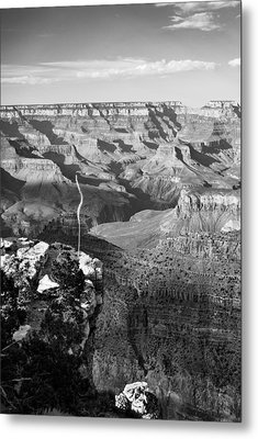 Vertical Grand Canyon At Sunset - Bw Metal Print by Gregory Ballos
