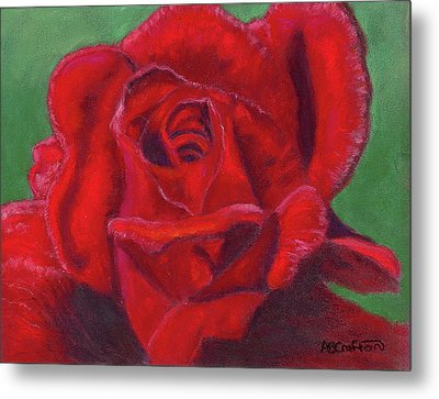 Metal Print featuring the painting Very Red Rose by Arlene Crafton