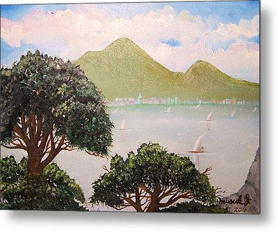 Vesuvius And Umbrella Pine Tree II Metal Print