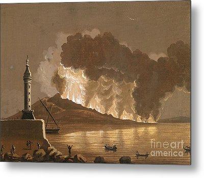Vesuvius Erupting, June 1794 Metal Print by British Library
