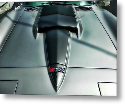 Metal Print featuring the photograph Vette Hood by Victor Montgomery