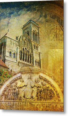 Vezelay Church And Hill Metal Print by Catf