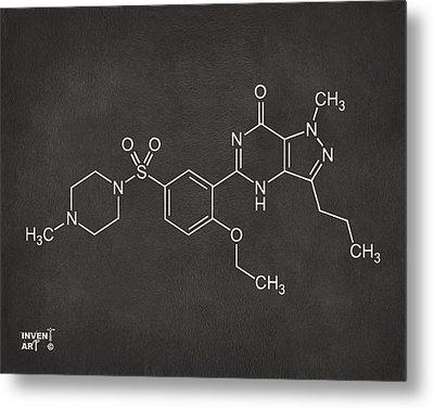 Viagra Molecular Structure Gray Metal Print by Nikki Marie Smith