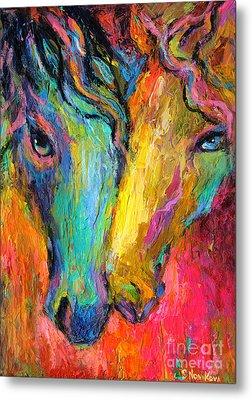 Vibrant Impressionistic Horses Painting Metal Print by Svetlana Novikova