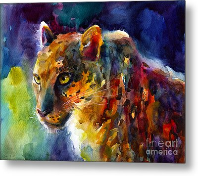 Vibrant Watercolor Leopard Wildlife Painting Metal Print