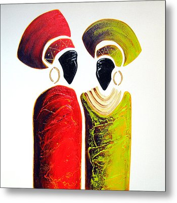 Vibrant Zulu Ladies - Original Artwork Metal Print