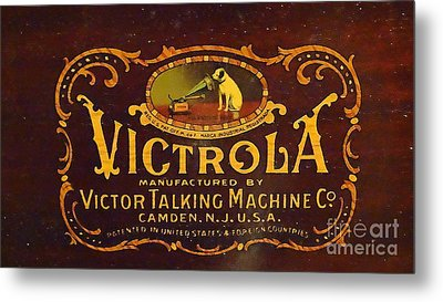 Victor Victrola Label Metal Print by J L Zarek