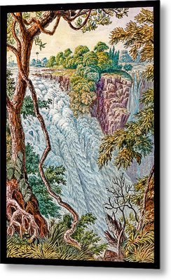 Victoria Falls And Island Metal Print by Gustoimages/science Photo Libbrary