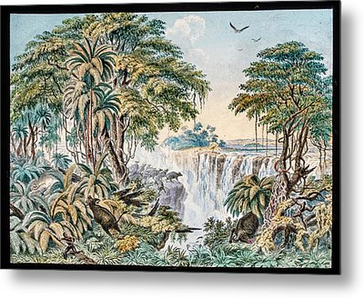 Victoria Falls Buffalo Hunt Metal Print by Gustoimages/science Photo Libbrary