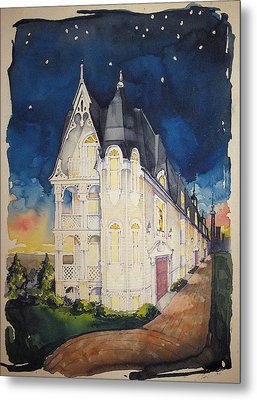 The Victorian Apartment Building By Rjfxx. Original Watercolor Painting. Metal Print