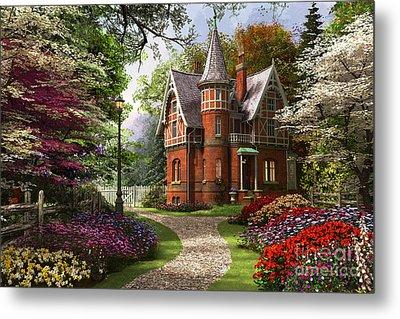 Victorian Cottage In Bloom Metal Print
