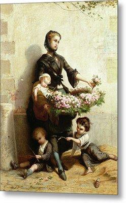 Victorian Flower Seller Metal Print by Leopold de Moulignon