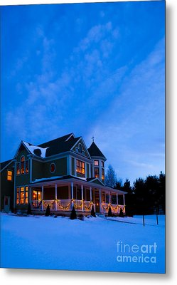 Victorian House At Christmastime Metal Print by Diane Diederich